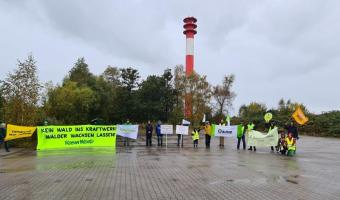 In front of the Onyx power plant in Wilhelmshaven, environmentalists protested against a possible conversion to biomass.